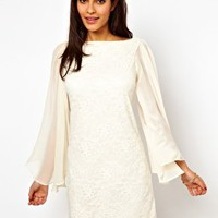 ASOS Lace Shift Dress With Chiffon Sleeve at asos.com