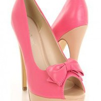 Fuchsia Faux Leather Bow Peep Toes Contrast Platform Heels Pumps @ Amiclubwear Heel Shoes online store sales:Stiletto Heel Shoes,High Heel Pumps,Womens High Heel Shoes,Prom Shoes,Summer Shoes,Spring Shoes,Spool Heel,Womens Dress Shoes,Prom Heels,Prom Pump
