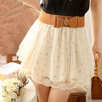 topfashion  Cute Wave Point Lace Skirt