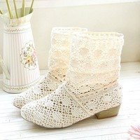 topfashion — Hollow Knitted Flattie Shoes Casual Sandals Ankle Boots