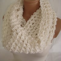 Hand Knitted Hooded Cowl/Scarf/Neck warmer (White) by Arzu's Style