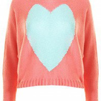 LOVE Orange And Aqua Batwing Heart Knit - Love