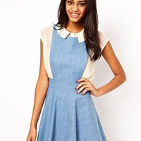 John Zack Pinafore Dress In Denim at asos.com
