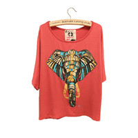 Elephant Batwing Sleeve Loose Tshirt