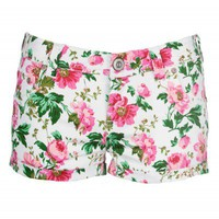 White Floral Denim Hotpants | Shorts | Desire