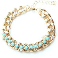 Chunky chain with turquoise rhinestone Bracelet - 24k gold plated