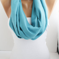 Pastel Blue Soft Pashmina Loop infinity  Scarf