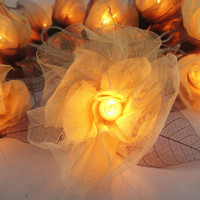 20 White Carnation Flower Fairy STRING LIGHTS by marwincraft