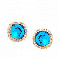 Blue Round Swarovski Crystal With Diamond Dangle Earrings - Swarovski Earrings - Earrings - Jewelry