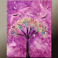 Abstract Landscape Canvas Art Painting 18x24 Original Contemporary Modern Tree Paintings  by Destiny Womack - dWo - Blossom
