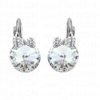 Swarovski Round Silver Circle with Bow Gemstone Dangle Earrings - Swarovski Earrings - Earrings - Jewelry