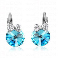 Swarovski Round Blue Round Bow Gemstone Dangle Earrings - Swarovski Earrings - Earrings - Jewelry