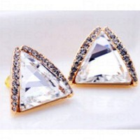 Silver Triangle Swarovski Crystal With Diamond Stud Earrings - Swarovski Earrings - Earrings - Jewelry