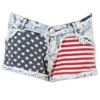 Stars & Stripes Flag Print Denim Shorts — Feetomatic By AutoSquad Girlz