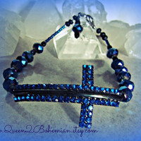 Side Cross Anklet Rhinestones Direct Checkout Ready to Ship Beach Hipster