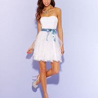 Teeze Me Juniors Dress, Strapless Belted Tulle - Juniors Prom Dresses - Macy&#x27;s