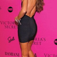 Backless Bandage Bodycon Dress Evening Cocktail Party Dress Black 210#1 XS S M L