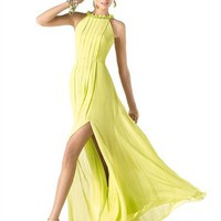 Elegant straps high neckless chiffon yellow Prom Dresses PSP00233