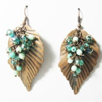 Copper peacock green or emerald mint and teal leaf earrings dangle