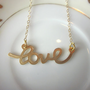 Gold Script Love Necklace - 14k Gold Filled Chain - Wedding Jewelry - Bridesmaid Necklace Love - Bridesmaid Jewelry