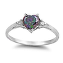 Sterling Silver 1.02ct Heart-cut Mystic Rainbow Topaz and Russian Ice CZ Promise Friendship Ring, Madison (available in sizes 4 to 9): Jewelry: Amazon.com