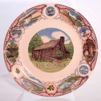 Souvenir Plate Ozarks Arkansas Travel Tourism Outdoors Scenes Mauve
