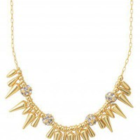 "Gold Spike & Pave Ball 16"" Necklace 