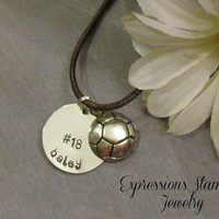 SPORTS Necklace Name Necklace  Leather by ExpressionsStamped
