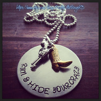 Hand Stamped Brass Necklace with Lyrics from Mamas Broken Heart