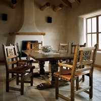 El Rey Pedestal Dining Table: Southwest Furniture, Santa Fe Style: Southwest Spanish Craftsmen