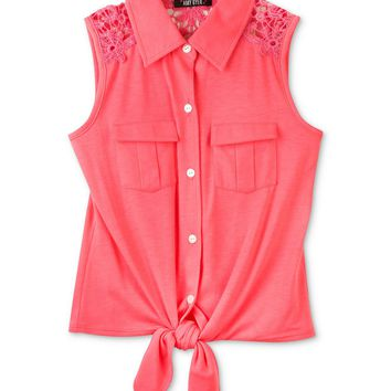 BCX Kids Top, Girls Tie-Front Button-Up Tank - Kids Girls 7-16 - Macy's