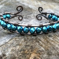 Wire Wrapped Copper Cuff, Blue Swarovski Crystal, Mother&#x27;s Day Gift