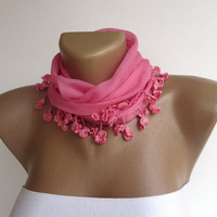 Pink cute scarf , girly , cotton fabric  , accessories spring , summer trends
