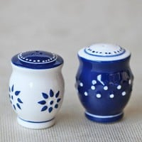 indigo ceramic salt and pepper shakers at ShopRuche.com