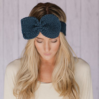 Knitted Bow Headband Thin Hair Band with Bow Ear Warmer in Navy Blue Knitted Earwarmer in Blue