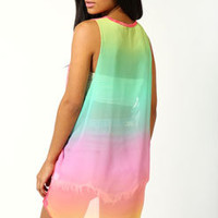 Frankie Rainbow Chiffon and Burn Out Vest
