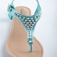 Rhinestone Studded T-Strap Sandal - Mint from Sandals at Lucky 21 Lucky 21