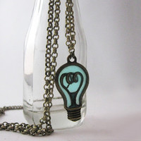 Glow in the Dark Lighbulb Charm Necklace, Antique Bronze Finish, Turqouise Aqua Glow Unique Gift