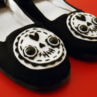 Day of the Dead Shoes - Sugar Skull Mary Janes - Size 10