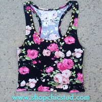 Studded Crop Top Tank - Pink Floral Print -  Gold or Silver Circular Studs -