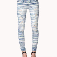 Destroyed Tribal Print Skinny Jeans | FOREVER 21 - 2042856050
