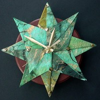 Starburst Origami Wall ClockGreen/Blue by Giftedpapers on Etsy