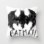 Black and White Batman Throw Pillow by Sarah Hinds