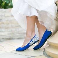 Wedding Shoes - Cobalt Blue Bridal Ballet Flats, Wedding Flats with Ivory Lace. US Size 10