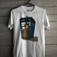 Doctor Who - Police  Public Call Box Cartoon Cute - White Tshirt