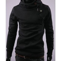 Free Shipping Black Long Sleeve With Button Hoodies S/M/L/XL