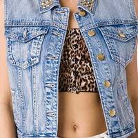 Cool Girl Studded Denim Vest | FOREVER 21 - 2026525832