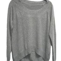 Chaser LA Cashmere Boatneck Sweater in Grey and Black