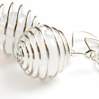 Simple Modern Spiral Ball Earrings. Pure White Translucent Lucite Bead. Cool Contemporary. Winter Wedding. Modern Bride