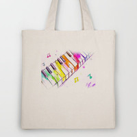 Watercolor Piano Keys Tote Bag by Trinity Bennett